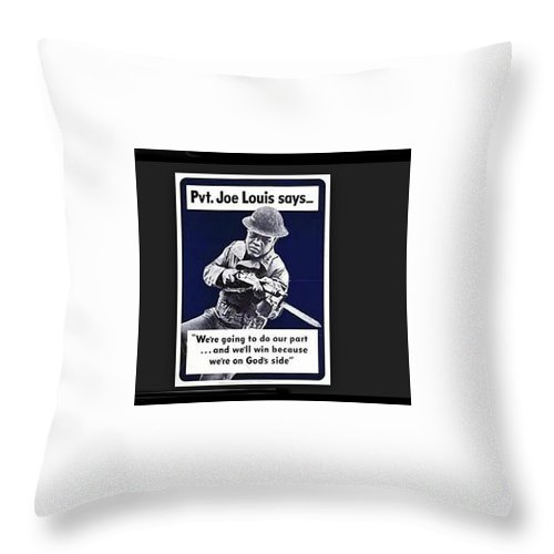 Boxer Joe Lewis As Army Private Poster 1942 Color And Frame Added 2016 Throw Pillow featuring the photograph Boxer Joe Lewis As Army Private Poster 1942 Color And Frame Added 2016 by David Lee Guss