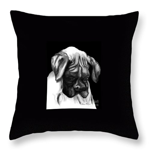 Animals Throw Pillow featuring the painting Boxer Puppy by Portraits By NC