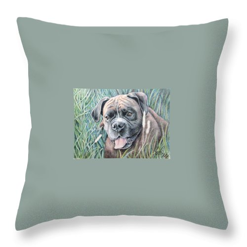 Dog Throw Pillow featuring the drawing Boxer Yosi by Nicole Zeug