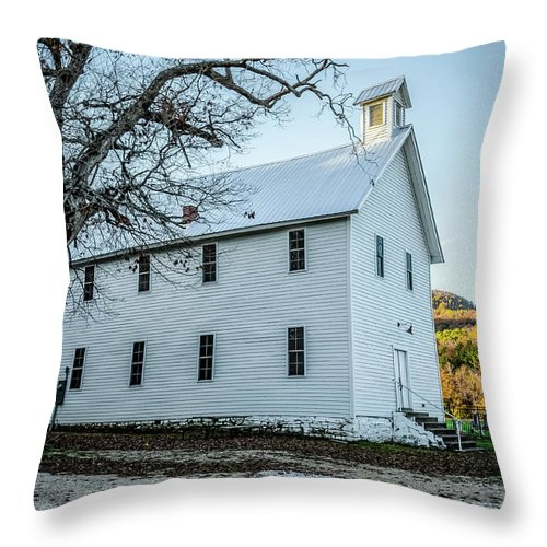 Historic Throw Pillow featuring the photograph Boxley Community Center by Patricia Cale