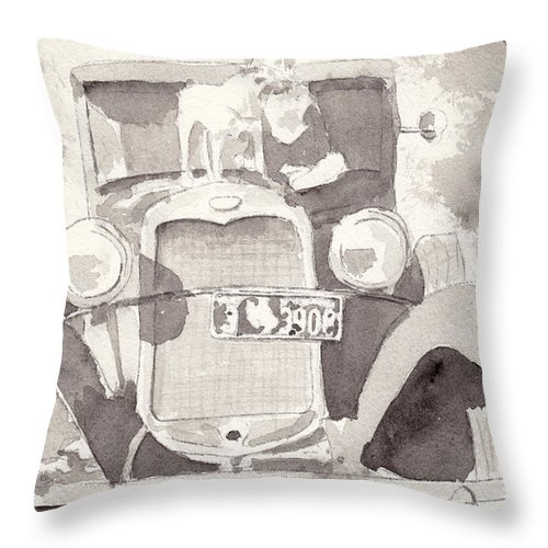 Car Throw Pillow featuring the painting Boy And His Dog On An Old Car by Ken Powers