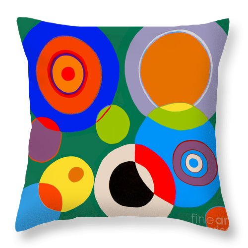 Bubbles Throw Pillow featuring the painting boy by Beth Saffer