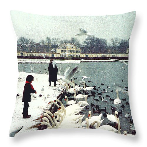Swans Throw Pillow featuring the photograph Boy Feeding Swans- Germany by Nancy Mueller