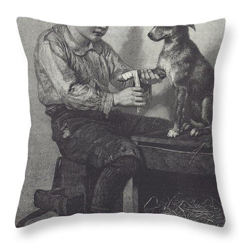 Boy Throw Pillow featuring the drawing Boy Mends Dog's Leg by British School