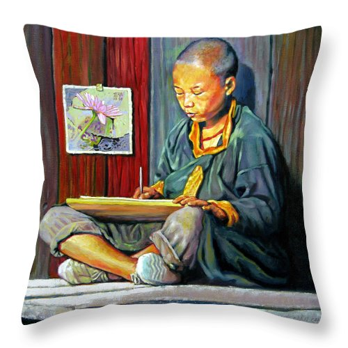 Chinese Boy Throw Pillow featuring the painting Boy Painting Lilies by John Lautermilch