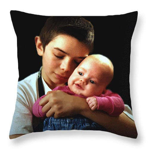 Children Throw Pillow featuring the photograph Boy With Bald-headed Baby by RC deWinter