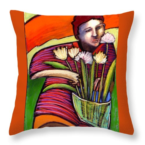 Figurative Throw Pillow featuring the painting Boy With Flowers by Angelina Marino