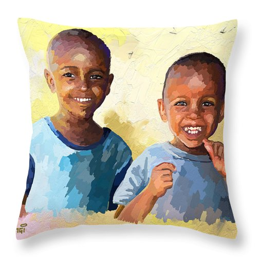 Black Throw Pillow featuring the painting Boys by Anthony Mwangi