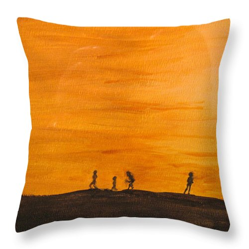 Boys Throw Pillow featuring the painting Boys At Sunset by Ian MacDonald