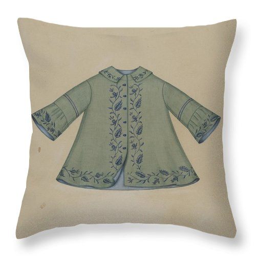 Throw Pillow featuring the drawing Boy's Coat by Marie Mitchell