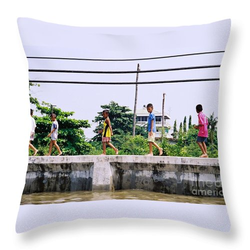 Children Throw Pillow featuring the photograph Boys In Bangkok by Mary Rogers