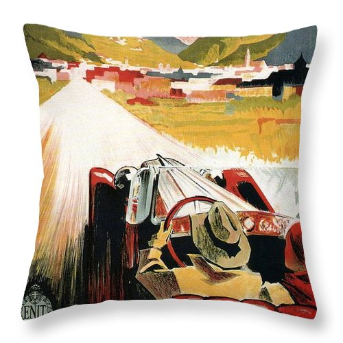Car Throw Pillow featuring the mixed media Bozen-gries - Dolomiten - Bolzano-gries - Retro Travel Poster - Vintage Poster by Studio Grafiikka