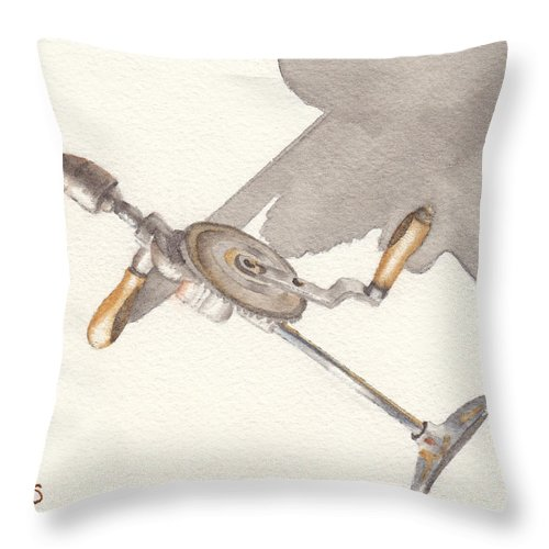 Brace Throw Pillow featuring the painting Brace And Bit by Ken Powers