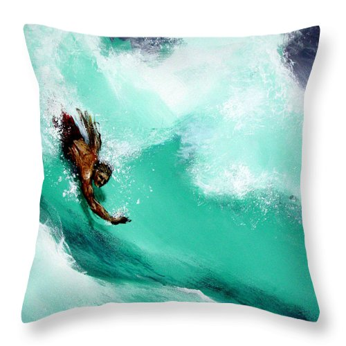 Body Surfer Throw Pillow featuring the painting Brad Miller in Makaha Shorebreak by Paul Miller
