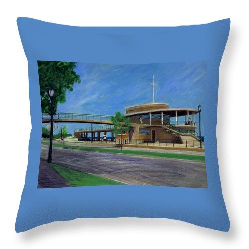 Miexed Media Throw Pillow featuring the mixed media Bradford Beach House by Anita Burgermeister