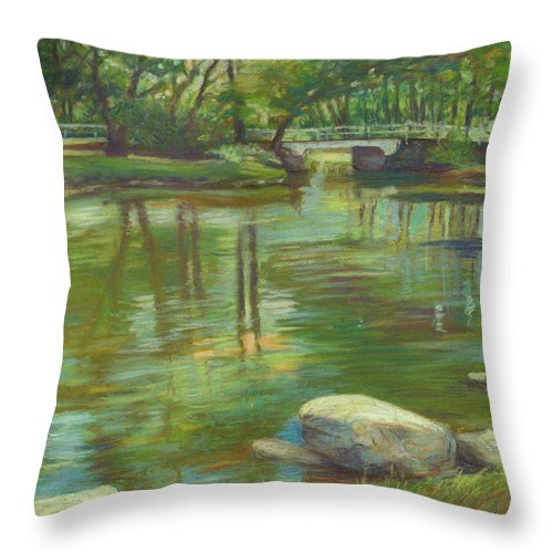 Mcgrath Throw Pillow featuring the painting Bradford Ma College Pond by Leslie Alfred McGrath
