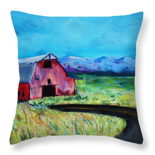Barn Throw Pillow featuring the pastel Bradley's Barn by Melinda Etzold