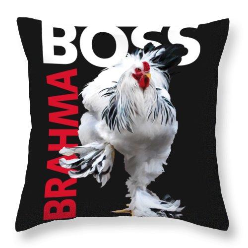 Light Brahma Throw Pillow featuring the digital art Brahma Boss II t-shirt print by Sigrid Van Dort