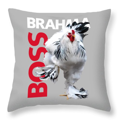Brahma Throw Pillow featuring the digital art Brahma Boss T-shirt Print by Sigrid Van Dort