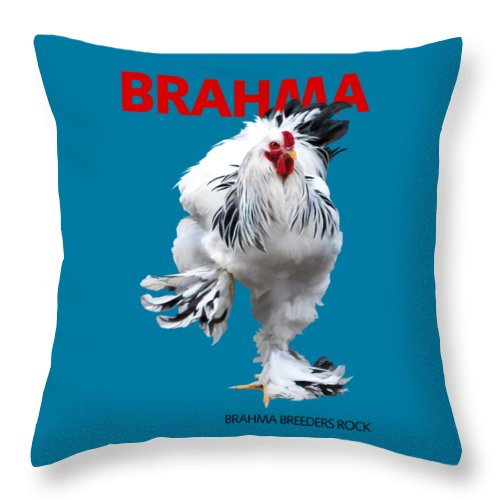 Brahma Throw Pillow featuring the digital art Brahma Breeders Rock RED by Sigrid Van Dort