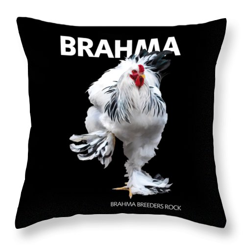 Brahma Throw Pillow featuring the digital art Brahma Breeders Rock T-shirt Print by Sigrid Van Dort