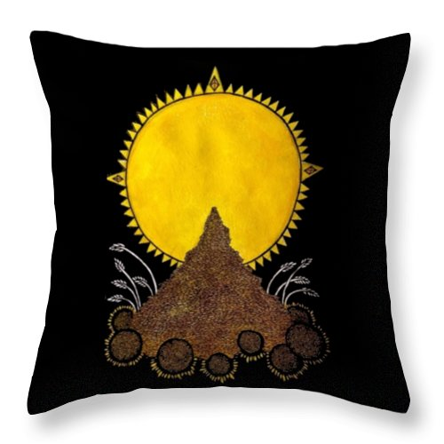 Gothic Throw Pillow featuring the digital art Brains Brewing Sunday Design By Warwickart by Beth Scannell