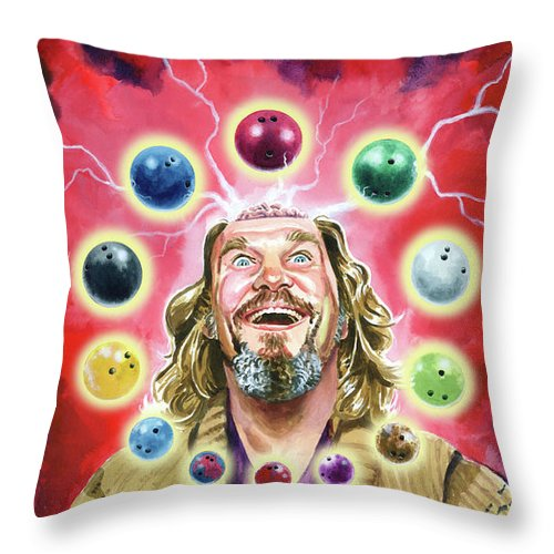 Magic The Gathering Throw Pillow featuring the painting BrainstormDude 2 by Ken Meyer jr