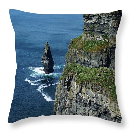 Irish Throw Pillow featuring the photograph Brananmore Cliffs Of Moher Ireland by Teresa Mucha