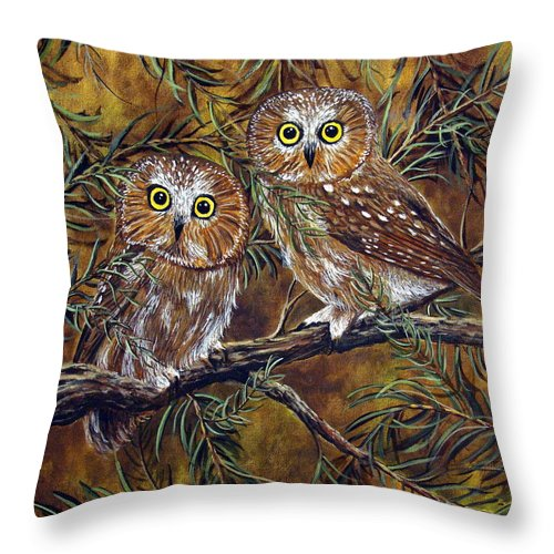 Owls Throw Pillow featuring the painting Branch Buddies by David G Paul