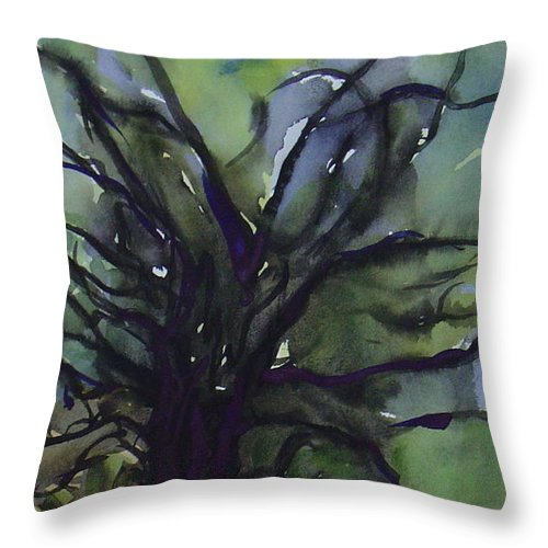 Tree Landscape Abstract Watercolor Original Blue Green Throw Pillow featuring the painting Branching by Leila Atkinson