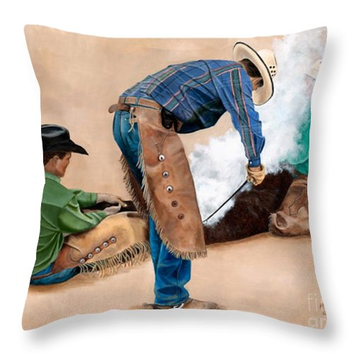 Art Throw Pillow featuring the painting Branding Day by Mary Rogers