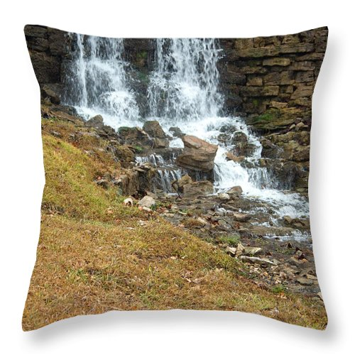 Waterfall Throw Pillow featuring the photograph Branson Waterfall 4 by Douglas Barnett