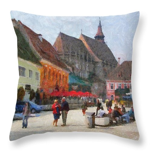 Shop Throw Pillow featuring the painting Brasov Council Square by Jeffrey Kolker