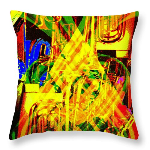 Festive Throw Pillow featuring the digital art Brass Attack by Seth Weaver