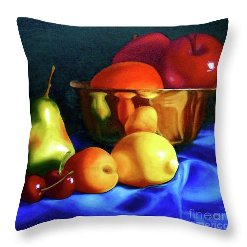 Still Llife Throw Pillow featuring the painting Brass Ensemble by Susan A Becker