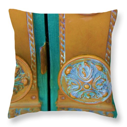 Door Throw Pillow featuring the photograph Brass Is Green by Debbi Granruth