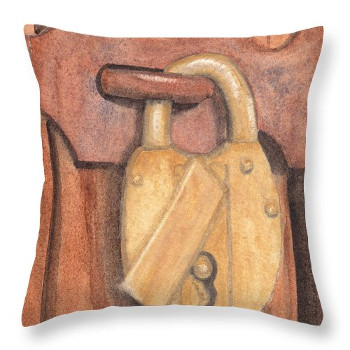 Brass Throw Pillow featuring the painting Brass Lock On Wooden Door by Ken Powers