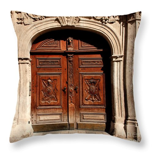 Doors Throw Pillow featuring the photograph Bratislava Doors by Thomas Marchessault