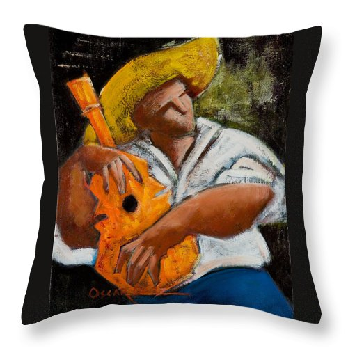 Puerto Rico Throw Pillow featuring the painting Bravado Alla Prima by Oscar Ortiz