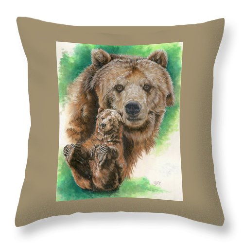 Bear Throw Pillow featuring the mixed media Brawny by Barbara Keith