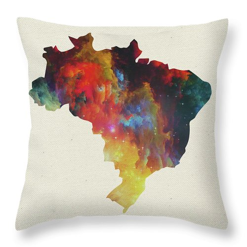 Brazil Throw Pillow featuring the mixed media Brazil Watercolor Map by Design Turnpike