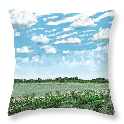 Brazoria Throw Pillow featuring the digital art Brazoria County Field by Kerry Beverly