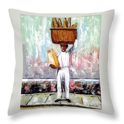 Bread Throw Pillow featuring the painting Breadman by Jose Manuel Abraham