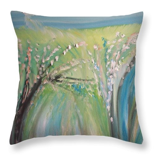 Trees Throw Pillow featuring the painting Break In The Clouds by Judith Desrosiers