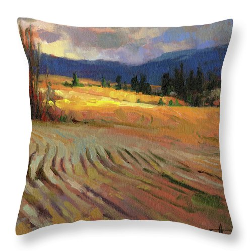 Country Throw Pillow featuring the painting Break In The Weather by Steve Henderson
