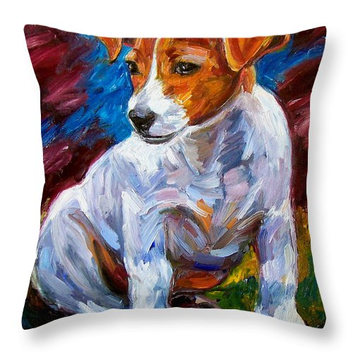 Dog Art Throw Pillow featuring the painting Break Time by Debra Hurd