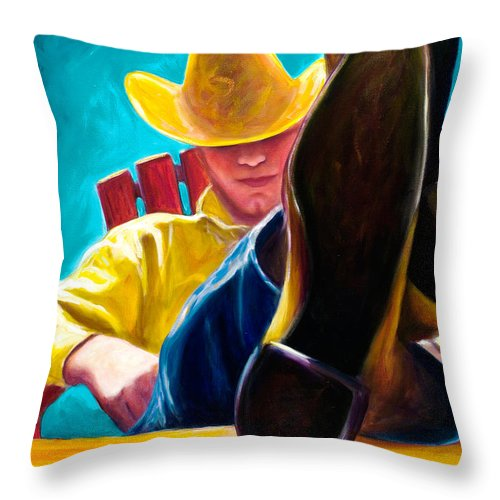 Western Throw Pillow featuring the painting Break Time by Shannon Grissom