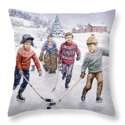 Hockey Throw Pillow featuring the painting Breakaway by Richard De Wolfe