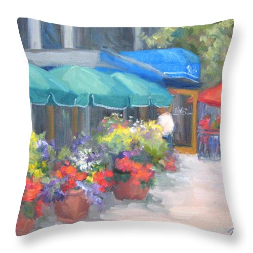 Cafe Throw Pillow featuring the painting Breakfast At Blus by Bunny Oliver