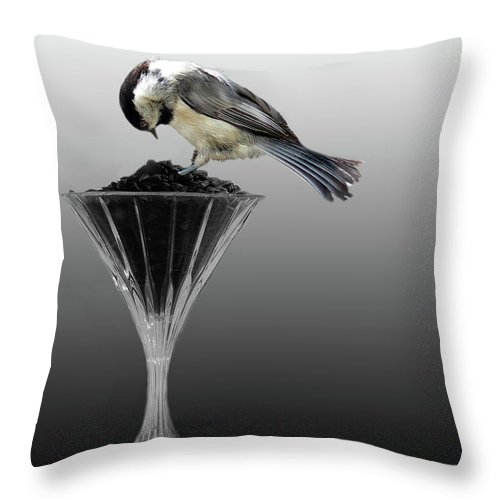Chicadee Throw Pillow featuring the photograph Breakfast At The Waterford by Skip Willits